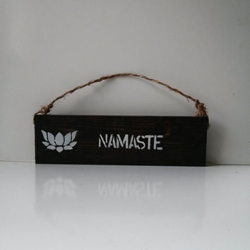 Namaste sign / yoga / anthropologie/ urban outfitters/ brandy melville/ wall hanging / lotus / welcome decor