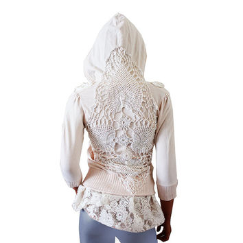 Shabby Hoodie, Upcycled Clothing, Boho Romantic Off White Crochet Ruffles Lace, Recycled Repurposed Extra Small XS, Small