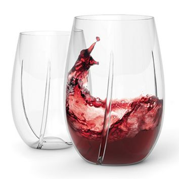 WHIRL™ Crystal Stemless Aerating Wine Glasses - Set of 2