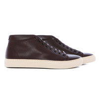 RG111 - Mid cut brown minimalist textured leather sneaker