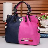 """Tommy Hilfiger"" Personality Fashion Multicolor Rivet Single Shoulder Messenger Bag Women Big Handbag"