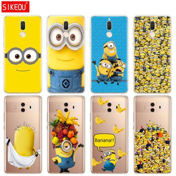 Silicone Cover phone Case for Huawei mate 7 8 9 10 pro LITE Yellow Minion cute banana