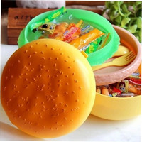 Children Hamburger Bento Lunch Box Food Container Storage with Spoon Fork yg5 (Color: Yellow)