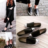 Fashionista Black Fashion Sneakers Flats