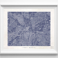 Fort Worth, Texas, Pretty, Living Room, Street Map, World, State, Print, Nursery, Poster, Wall Decor, Art, Cute, Town, Illustration [NO 495]