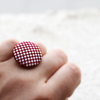 Red ring, Geometric jewelry, Modern ring, Red and white dots jewelry, Circle ring, Polka dots ring, Round ring, Geometric ring Ruby red ring