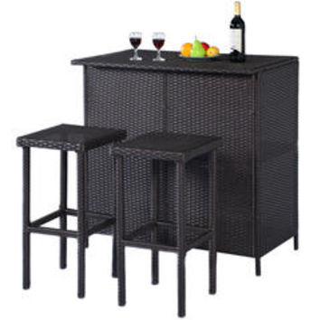 GOPLUS 3PCS Rattan Wicker Bar Set Patio Outdoor Table & 2 Stools Furniture - Sears