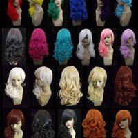 "ZKETCH 18"" Women's Wavy Curly Hair Fully Adjustable Lace Synthetic Wig - 12 COLORS to choose from"