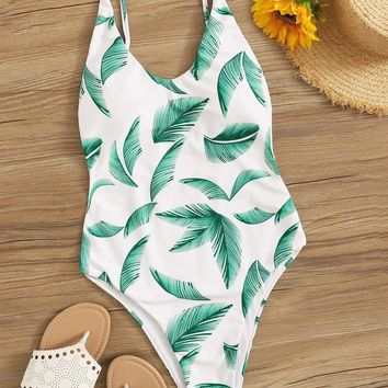 Random Leaf Print Low Back One Piece Swimsuit