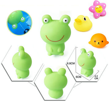 Cute Animals Bath Toys In Bathroom Floating Squeeze Soft Rubber Colorful Flowers Bear Frog Duck Dog Baby Kids Toys For Boy Girls
