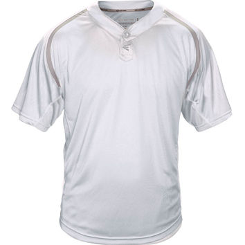 Easton M7 Homeplate Two-Button Baseball Jersey - White Gray