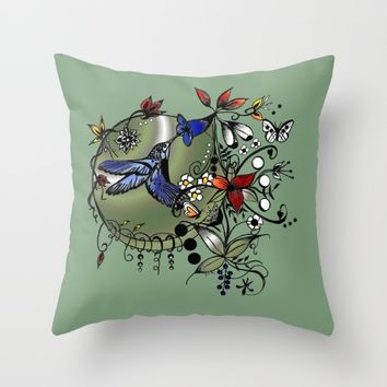 Colorful Hummingbird Ink and pencil drawing Throw Pillow by Saribelle Inspirational Art | Society6