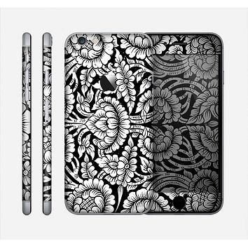 The Black & White Mirrored Floral Pattern V2 Skin for the Apple iPhone 6