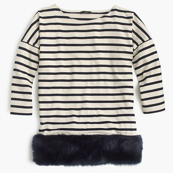 J.Crew Womens Striped Tunic With Faux-Fur Hem