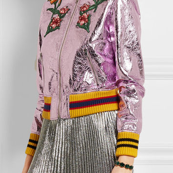 Gucci - Appliquéd metallic textured-leather bomber jacket