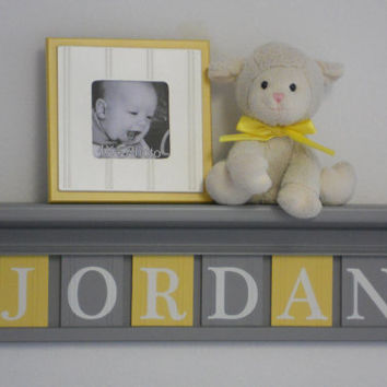 "Nursery Name Shelves Personalized Baby Boy Gift 24"" Gray Shelf and 6 Wooden Wall Letters Yellow and Grey - JORDAN"