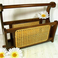 Vintage Wood & Caned Wicker Magazine Holder - Retro Classic Curved Bamboo Rack - Handy Portable Storage Organizer