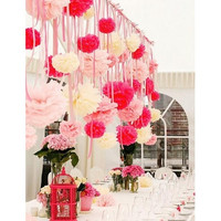 4pcs Mix 3 size Wedding Party Home Decoration Tissue Paper Poms Flower [7981618695]