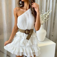 Ruffle White Women Dress One Shoulder Party Elegant Dresses Beach Belt Tie Dress
