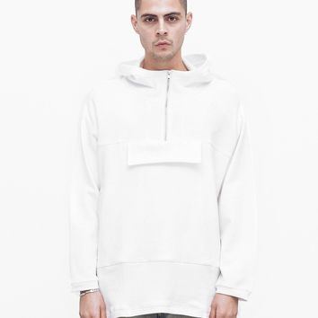 French Terry Anorak Pullover in White