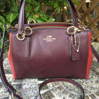 COACH Mini Leather Christie Bag Oxblood Red Currant Purse Crossbody NEW