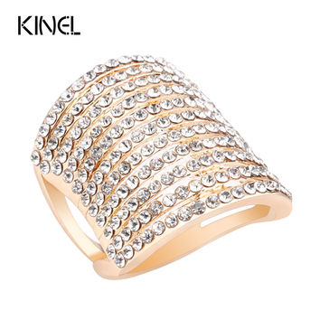 Senior Jewelry Covered With Austrian Crystal Gold Ring Hyperbole Rings For Women Gift Free Shipping