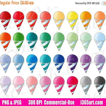 50% OFF SALE Snow Cones Clipart, Snow Cones Clip Art, Frozen Treats, Ice Cream, Planner Stickers, Digital Graphics, Icons, PNG, Commercial