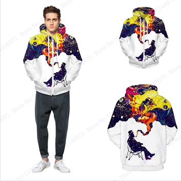 Harajuku Men Smoking Hooded Jackets Sweatshirts Abstract Space Galaxy Skateboarding Hoodie Zipper Mens Hip Hop Tracksuit White