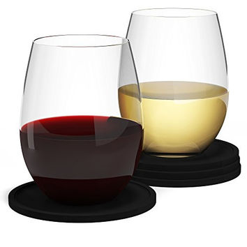 #1 Best Wine Glasses & Drink Coasters for Outdoors by Barvivo - 16 oz, Set of 4 - Love it or Return it! Crystal Clear Lightweight Tritan Plastic Glass, Flexible & Unbreakable.
