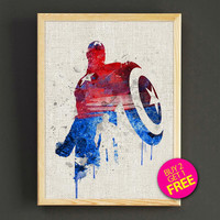 Watercolor Captain America, Print, Superhero poster, Marvel, Heroes prints, Watercolor, Artwork, Comic poster, Gift, Home Decor- 394s2g