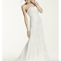 Lace Over Charmeuse Gown with Soutache Detail - Davids Bridal