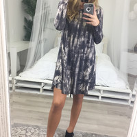 Dark Sky Charcoal Tie-Dye Long Sleeve Swing Dress