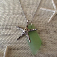 Sea glass green pendant with big silver starfish, sea glass pendant with starfish charm