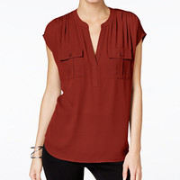 INC International Concepts Mixed-Media Utility Shirt, Only at Macy's - INC Wear to Work - Women - Macy's