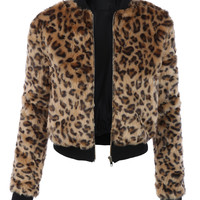 LE3NO Womens Cropped Leopard Zip Up Faux Fur Jacket