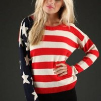 USA American Flag Long Sleeve Knit Sweater