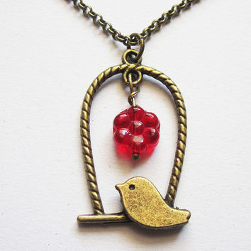 bird necklace, sparrow necklace, bird jewelry, cute necklace, bird cage jewelry, bird charm necklace, animal necklace, red flower, bird cage