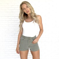 Good Times Denim Shorts in Olive