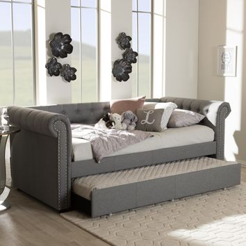 Baxton Studio Mabelle Modern and Contemporary Grey Fabric Trundle Daybed Set of 1