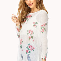 Femme Rose Shredded Sweater