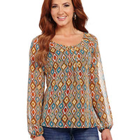 Cowgirl Up Long Sleeve Diamond Print Top