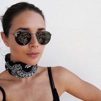 Bandana Pattern Neck Tie Scarf Headband Black White