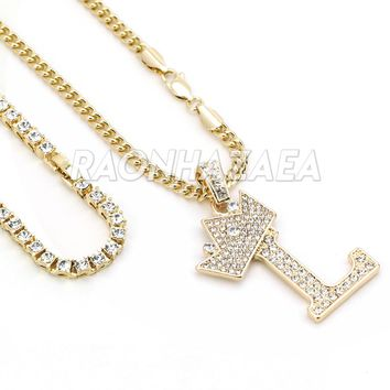 Iced Out Crown L Initial Pendant Necklace Set
