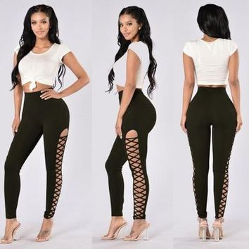 Sexy Side Hollow Out Bandage Leggings For Women High Waist Black Bodycon Leggins