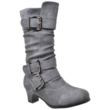 Knee High Ruched Faux Leather Strappy  Buckle Boots