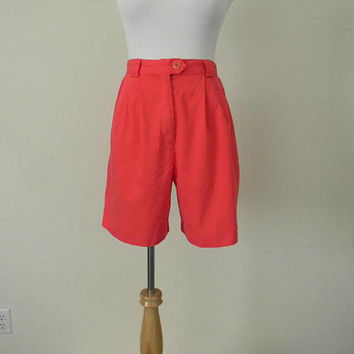 FREE usa SHIPPING 1980's  vintage high waist pleated shorts cotton rayon size 8