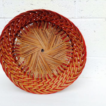 French Farmhouse Style Brown & Red Round Large Woven Basket Storage Container Servingware Vintage Home Decor Housewares Centerpiece