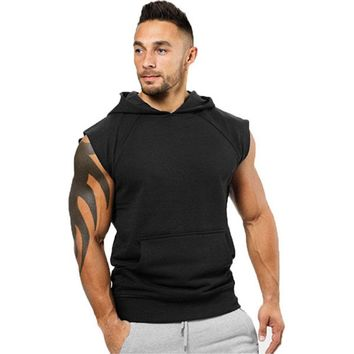 USA Men Muscle Sleeveless Hoodie Tank Top Bodybuilding Gym Workout Vest T-Shirt