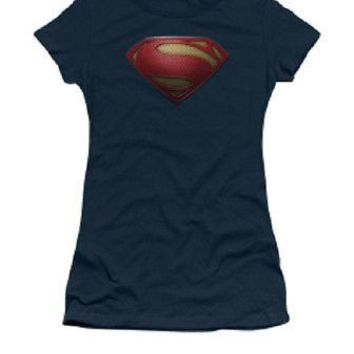 Superman Man Of Steel Logo DC Comics Licensed Women's Junior T-Shirt - Blue