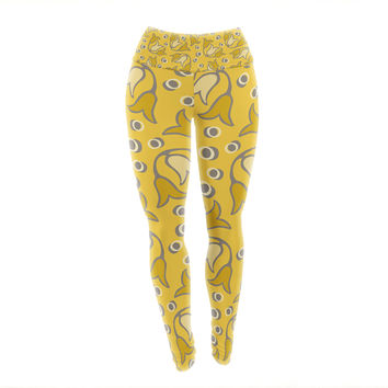 "Suzie Tremel ""Tulip Toss"" Yellow Petals Yoga Leggings"
